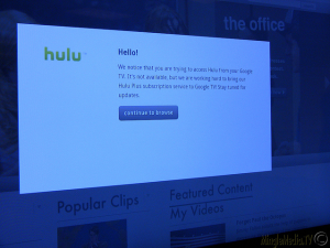 Hulu Not Available on Sony Google TV