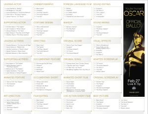 Oscar Official Ballot