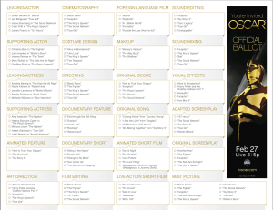 Oscar Official Ballot