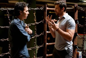 Shawn Levy and Hugh Jackman on the set of REAL STEEL