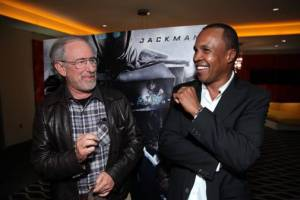 Steven Spielberg and Sugar Ray Leonard at Screening of Real Steel