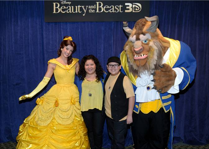 Rico Rodriguez of Modern Family and Disney Channel stars with Belle and Beast from a special BEAUTY AND THE BEAST 3D