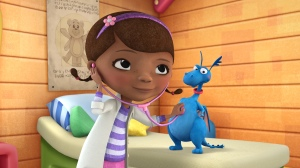 """DOC MCSTUFFINS - """"Doc McStuffins,"""" an imaginative animated series about Doc McStuffins, a six-year-old girl who runs and operates a clinic for broken toys and worn out stuffed animals out of the playhouse in her backyard, will debut with the launch of the new 24-hour Disney Junior channel in 2012. (DISNEY JUNIOR) DOC MCSTUFFINS, STUFFY"""