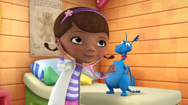 "DOC MCSTUFFINS - ""Doc McStuffins,"" an imaginative animated series about Doc McStuffins, a six-year-old girl who runs and operates a clinic for broken toys and worn out stuffed animals out of the playhouse in her backyard, will debut with the launch of the new 24-hour Disney Junior channel in 2012. (DISNEY JUNIOR) DOC MCSTUFFINS, STUFFY"